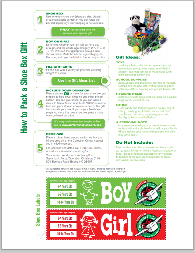 operation christmas child instructions