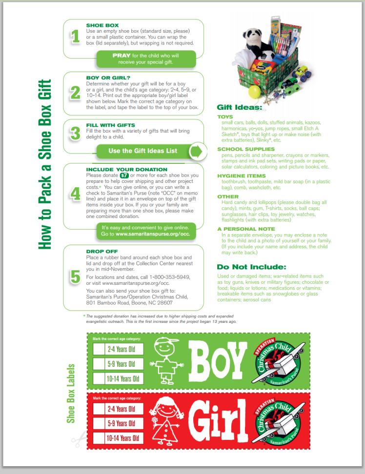 2013 operation christmas child instructions